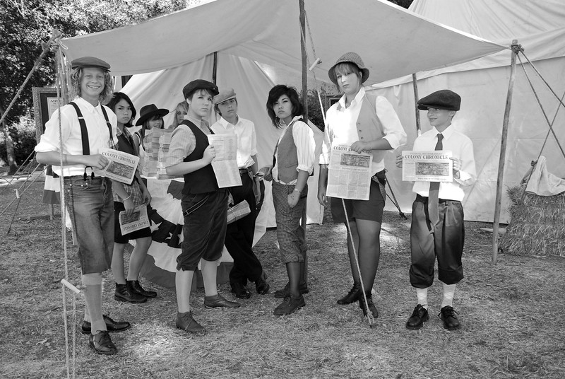 1915 Newsies ready to begin their days sales of The Colony Chronicle