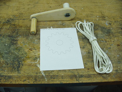 The Crank, Gear pattern print out, and the lift ropes.   Note each rope has knots at the ends.