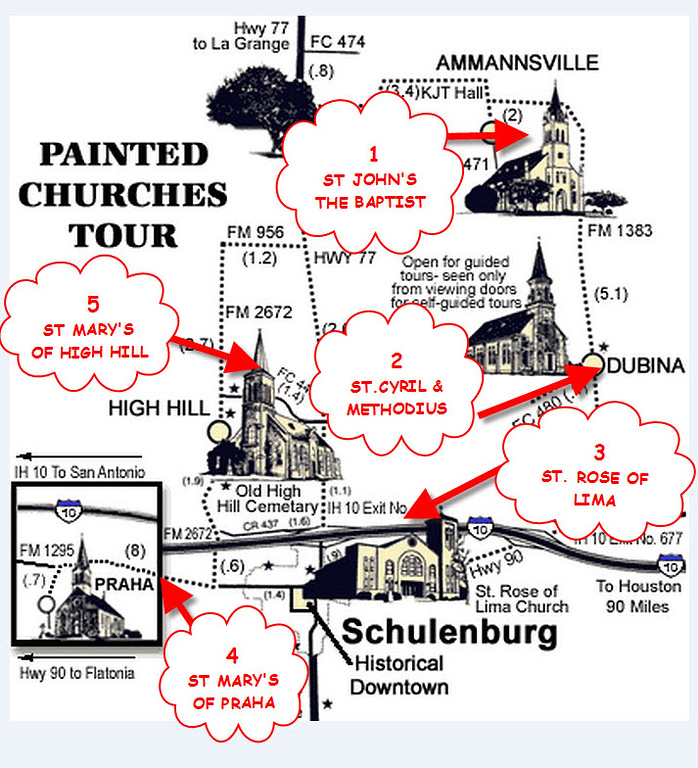 Texas Painted Churches Map
