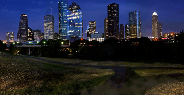 Houston Skyline at night, this panorama print is $50