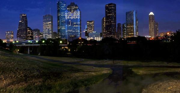 Houston Skyline at night, this panorama print is $50