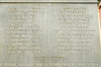Texas Capitol Confederate Memorial:  Principal Battles of Hood's Brigade in the Civil War