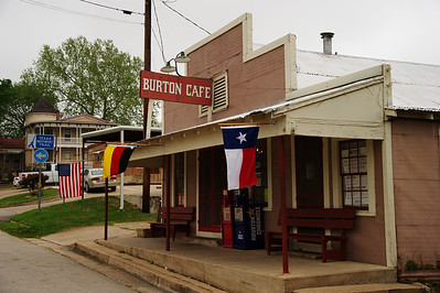 Burton Cafe, a Texas landmark, reopened under new ownership in January.  They are opened from  8am-8pm, closed Mon & Wed.  I always make it a point to stop and have lunch there. The new owners are Lucy and George Zaranovic.  She is from Germany and he is from Yugoslavia.  George was born in Yugoslavia.  His father was a German POW and chose to stay in Yugoslavia after WW2.  In 1955 Yugoslavia told all the German to leave and his family immigrated to Germany.  He became a baker.  They came to Texas in 1986. They eventually settled in Brenham and bought the Burton Cafe in January 2011.  Their daughter, Anja, who is also a trained chef helps with the baking the delicious pies and cakes served in the Burton Cafe.  It's a great place to eat.