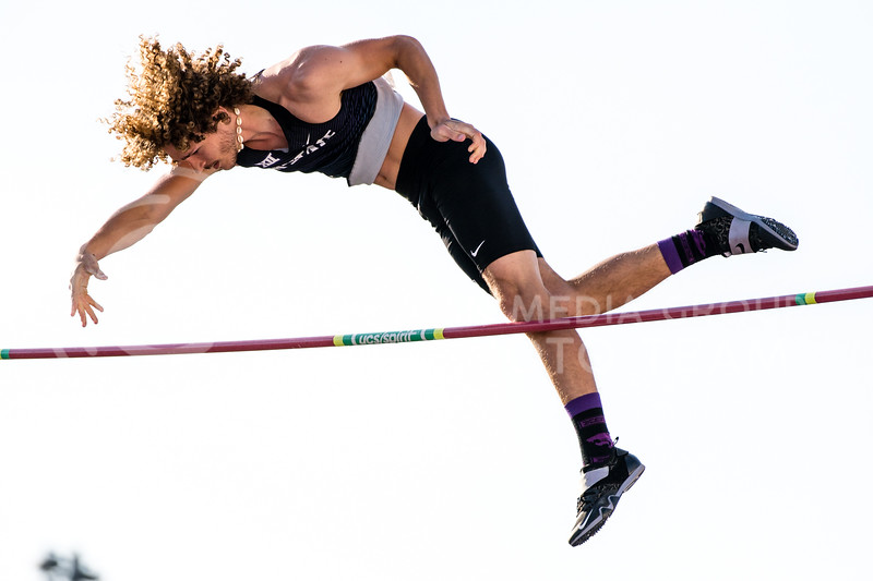 K-State Track and Field pole vaulter, Jesse Pinkley, took second place for the Wildcats with a vault of 4.90m/16.0 at the Ward Haylett Invitational on May 07, 2021, in Manhattan, KS (Dylan Connell | Collegian Media Group)