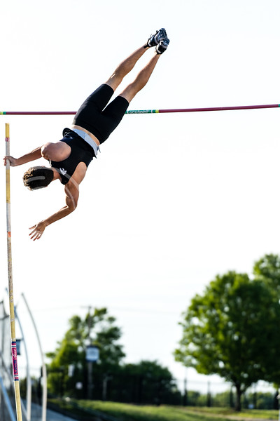 K-State Track and Field pole vaulter, Brian Siman, took third place with a vault of 4.75m/15.7 at the Ward Haylett Invitational on May 07, 2021, in Manhattan, KS (Dylan Connell | Collegian Media Group)
