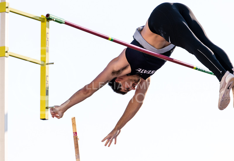 K-State Track and Field pole vaulter, Brian Siman, took fourth place with a vault of 4.60m/15.1 at the Ward Haylett Invitational on May 07, 2021, in Manhattan, KS (Dylan Connell | Collegian Media Group)