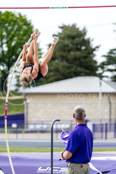 K-State Track and Field pole vaulter, Jesse Pinkley, tied for first place with a vault of 3.60m/11-9.75 at the Ward Haylett Invitational on May 07, 2021, in Manhattan, KS (Dylan Connell | Collegian Media Group)