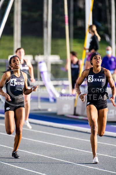 K-State Women's 400 meter runner, Wurrie Njadoe, took first place for the Wildcats with a time of 53.67  at the Ward Haylett Invitational on May 07, 2021, in Manhattan, KS (Dylan Connell | Collegian Media Group)