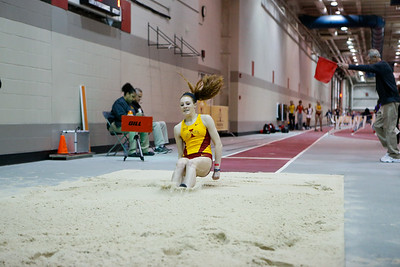 Emma Whigham of Iowa State competes in the Long Jump at the ISU Classic Track Meet in Ames, Iowa on February 13, 2016. Photo by Wesley Winterink.