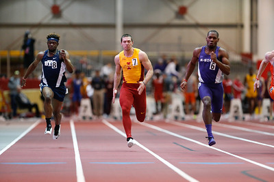 Trever Ryen of Iowa State competes in the 60 meters at the 2017 ISU Classic Track Meet in Ames, Iowa on February 9, 2017. Photo by Wesley Winterink.