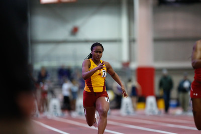 Mariah Anderson of Iowa State competes in the 60 meters at the 2017 ISU Classic Track Meet in Ames, Iowa on February 9, 2017. Photo by Wesley Winterink.