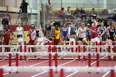 Tasha Frazier of Iowa State competes in the 60 meter hurdles at the 2017 ISU Classic Track Meet in Ames, Iowa on February 10, 2017. Photo by Wesley Winterink.