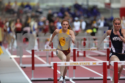 Emma Whigham of Iowa State competes in the 60 meter hurdles at the 2017 ISU Classic Track Meet in Ames, Iowa on February10, 2017. Photo by Wesley Winterink.