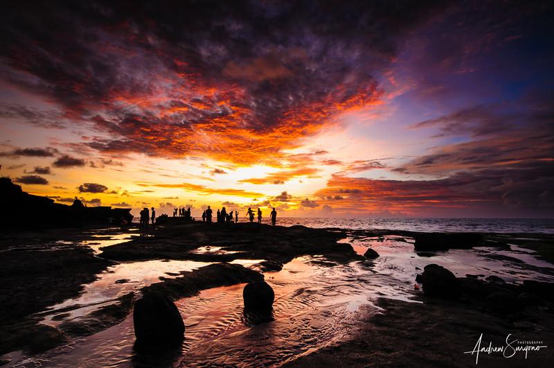 Dramatic Sunset Scene in Tanah Lot