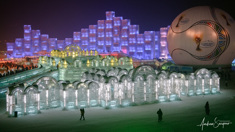 Colorful Night at Harbin Ice Festival