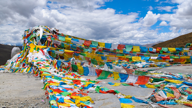 Tibetan Prayer's Flag Touching The Sky