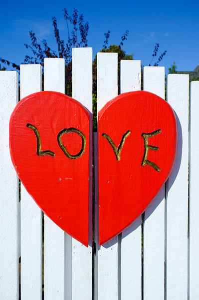 "The ""LOVE"" fence in Half Moon Bay, California"