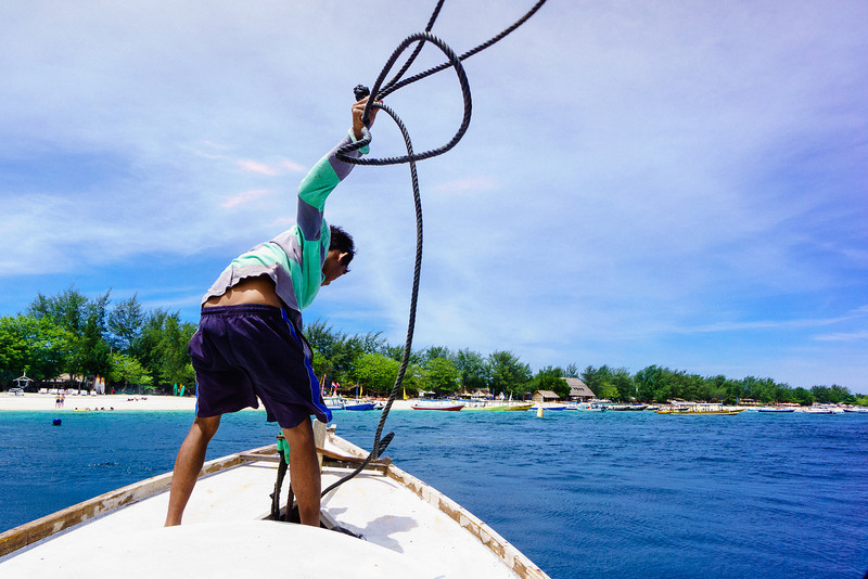 Boatman About to Set Shore in Gili Trawangan Island, Lombok, Indonesia