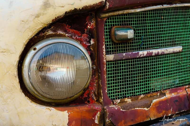 Headlight of an Old Rustic Car