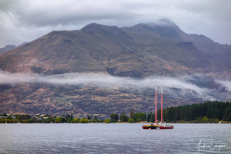 QTOWN15 - Red Boat Under the Morning Mist
