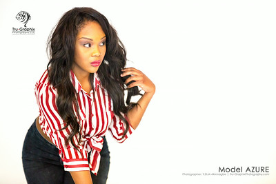 Model Azure - Red and White with Blue Jeans