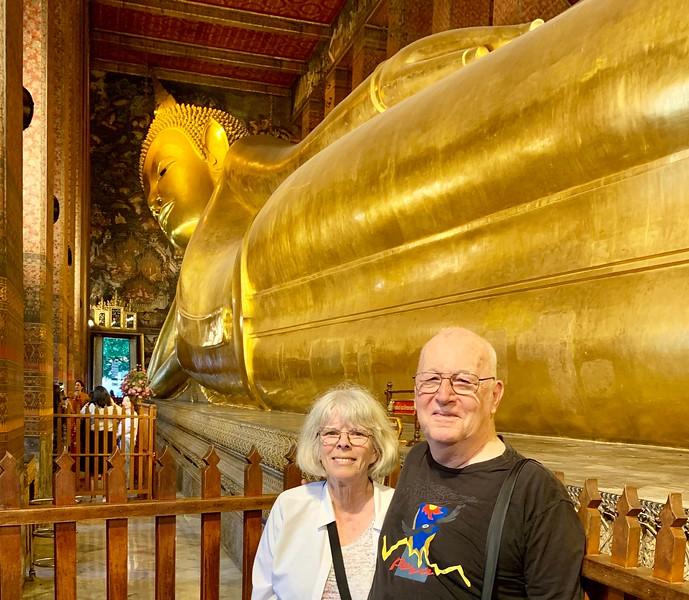 Reclining Buddha and us at Wat Pho