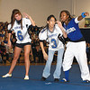 SENTINEL & ENTERPRISE / SARAH BRITAIN  Leominster High School seniors Sarah Henry, Katie Castro and Suzie Addo perform in a skit during the school's pep rally, Tuesday.