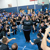 Leominster High School held it's football pep rally on Tuesday morning at the school. They will be playing Fitchburg on Thanksgiving day. Theater teacher Andrea Mastroianni was the center of the teachers flash mob as she showed off her singing skills during the pep rally. SENTINEL & ENTERPRISE/JOHN LOVE