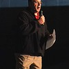 SENTINEL & ENTERPRISE / BYRON SMITH<br /> The Fitchburg High School football coach Ray Cosenza says a few words during the Fitchburg High School pep rally held at Fitchburg High School in Fitchburg on Tuesday, November 25, 2009.