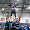 Leominster High School held it's football pep rally on Tuesday morning at the school. They will be playing Fitchburg on Thanksgiving day. Some of the senior boys dressed up as cheerleaders and performed a routine during the pep rally. One of those performers was Rusty Fredrick seen here as the top of the pyramid. SENTINEL & ENTERPRISE/JOHN LOVE