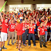 Fitchburg High School seniors cheer during the school's pep rally, Wednesday morning.<br /> SENTINEL & ENTERPRISE / BRETT CRAWFORD