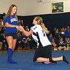 SENTINEL & ENTERPRISE / SARAH BRITAIN  Leominster High School seniors Rebecca Fellows and Adrienne Fratturelli perform in a skit during the school's pep rally, Tuesday.