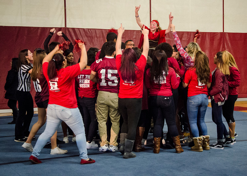 Students lift up mascot Marissa Falconer during the Thanksgiving pep rally on Wednesday morning. SENTINEL & ENTERPRISE / Ashley Green
