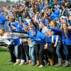 SENTINEL & ENTERPRISE / BRETT CRAWFORD<br /> Leominster High School fans celebrate after a play during Thursday's Thanksgiving Day game of Fitchburg High School against Leominster High School at Doyle Field.