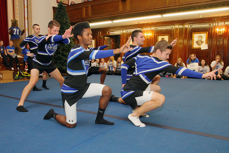 Leominster High School boys calling themselves the Leominster Divas dressed up s cheerleaders and performed at the pep rally on Wednesday morning at City Hall. SENTINEL & ENTERPRISE/JOHN LOVE