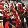 SENTINEL & ENTERPRISE / BYRON SMITH<br /> The Fitchburg High School Marching Band perform during the Fitchburg High School pep rally held at Fitchburg High School in Fitchburg on Tuesday, November 25, 2009.