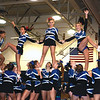 SENTINEL & ENTERPRISE / SARAH BRITAIN  The Leominster High School cheerleaders perform at the school's pep rally, Tuesday.