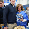 Leominster High School held it's football pep rally on Tuesday morning at the school. They will be playing Fitchburg on Thanksgiving day. After the pep rally ended Eddie Cuddahy posed with his mom Cheryl who performed with other moms during the rally. SENTINEL & ENTERPRISE/JOHN LOVE