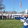 Leominster and Fitchburg High Marching Bands perform the National Anthem together before the Thanksgiving matchup on Saturday afternoon at Doyle Field. SENTINEL & ENTERPRISE / Ashley Green