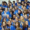 SENTINEL & ENTERPRISE / BRETT CRAWFORD<br /> Seniors cheer and applaud during Leominster High School's pep rally, Tuesday.