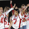 SENTINEL & ENTERPRISE / JONATHAN PHILLIPS<br /> Fitchburg High School students (L) Alyse Hanrahand and Kayelani Ortiz cheer with the rest of the senior girls during the pep rally at the Doug Grutchfield Field House, Tuesday night.