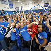 SENTINEL & ENTERPRISE / BRETT CRAWFORD<br /> Seniors gather on the gymnasium floor to cheer and celebrate during Leominster High School's pep rally, Tuesday.