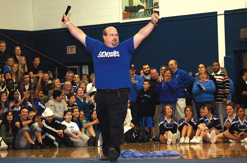 SENTINEL & ENTERPRISE / SARAH BRITAIN  Principal Tom Browne shows his school spirit during a pep rally at Leominster High School, Tuesday.