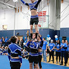 Leominster High School held it's football pep rally on Tuesday morning at the school. They will be playing Fitchburg on Thanksgiving day. Some of the senior boys dressed up as cheerleaders and performed a routine during the pep rally. One of those performers was Brandon Lefebvre seen here as the top of the pyramid. SENTINEL & ENTERPRISE/JOHN LOVE