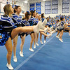 SENTINEL & ENTERPRISE / BRETT CRAWFORD<br /> Cheerleaders perform a cheer during Leominster High School's pep rally, Tuesday.
