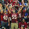 Fitchburg High School senior football players #40 Marcos Diaz and #55 Leonardo Ramirez celebrate during the pep rally on Wednesday morning at the school. SENTINEL & ENTERPRISE/JOHN LOVE