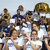SENTINEL & ENTERPRISE / SARAH BRITAIN  The Leominster High School band performs at the school's pep rally, Tuesday.
