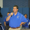 Leominster High School football Head Coach Dave Palazzi talks during LHS' pep rally, Tuesday.<br /> (photo courtesy of Creative by O'Connor Studios)