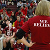 "Fitchburg High School senior class advisor Ann Taft was were one of the ""We Believe"" shirts during the pep rally on Wednesday morning at the school. SENTINEL & ENTERPRISE/JOHN LOVE"