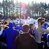 SENTINEL & ENTERPRISE / BRETT CRAWFORD<br /> Leominster High School students rush the field to celebrate with their players after Leominster beat Fitchburg 38-22 in Thursday's annual Thanksgiving Day rivalry football game at Doyle Field.